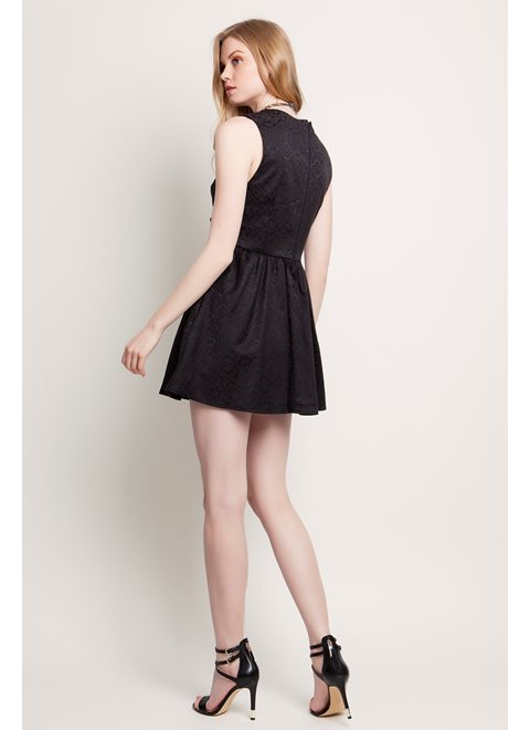 Sunday Morning Stories Black Brocade Mini Dress