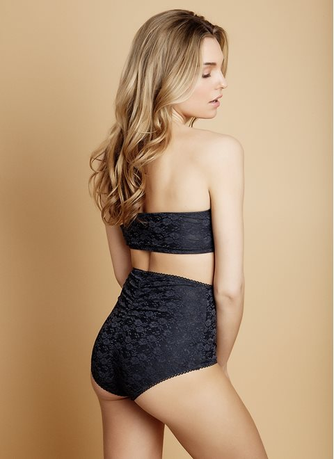 Raven Grey Lace High-Waist Brief
