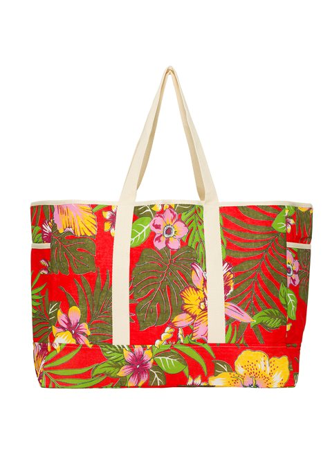 Into The Tropics Red Beach Bag