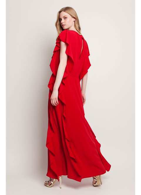 Sunday Morning Stories Striking Red Maxi Frill Dress