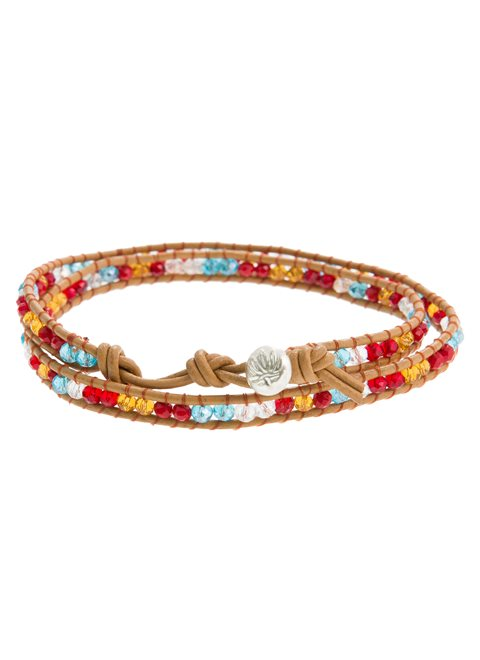 Turquoise Bracelet with Leather & Multicolored Beads