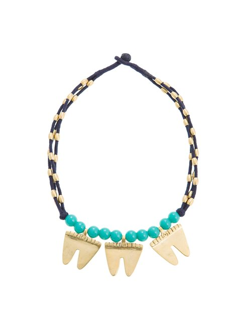 Turquoise Blue & Gold Tone Tooth Necklace