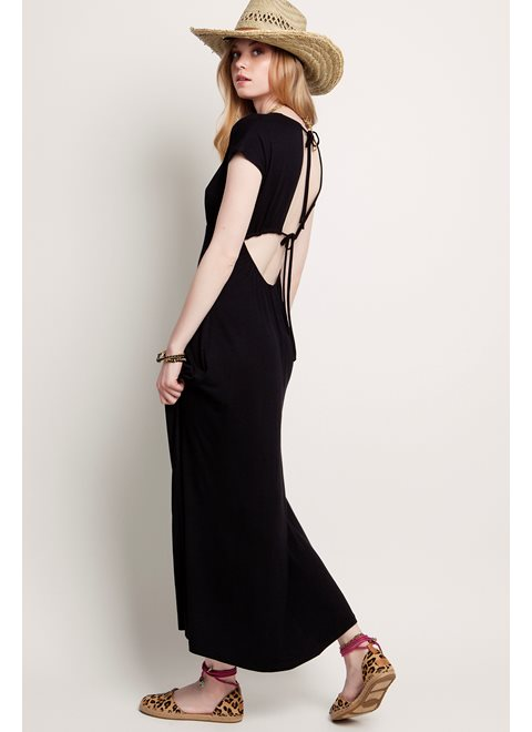 Sunday Morning Stories Black Maxi Wrap Dress