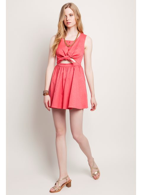 Sunday Morning Stories Coral Brocade Mini Dress