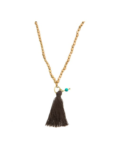 Turquoise Long Necklace with Black Tassel