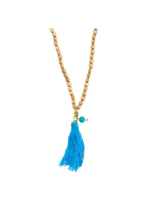 Turquoise Long Necklace with Blue Tassel