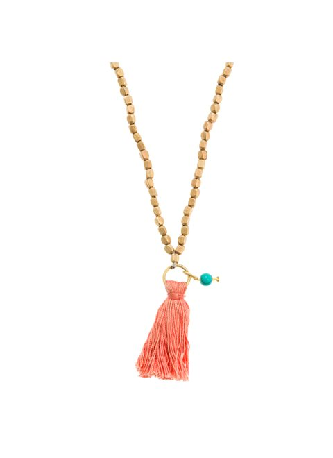 Turquoise Long Nacklace with Peach Tassel