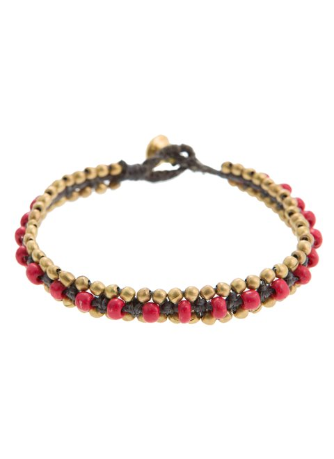 Turquoise Gold and Red Beaded Bracelet