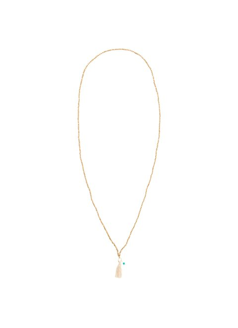 Turquoise Long Nacklace with Beige Tassel