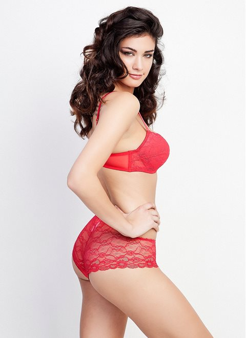 Red Lace Bandeau Bra