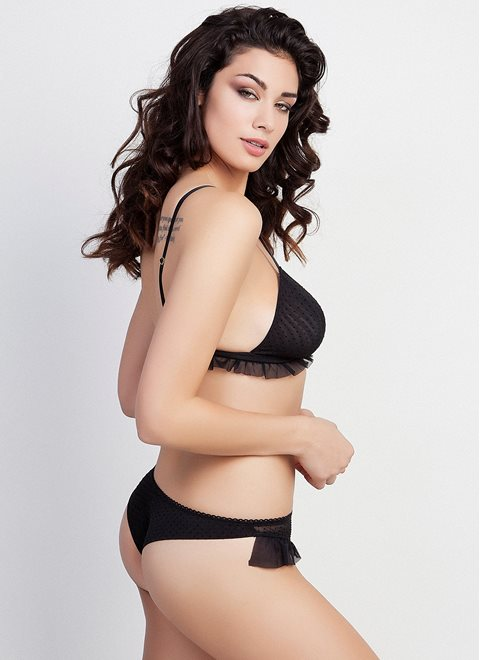 Black Triangle Frill Bra