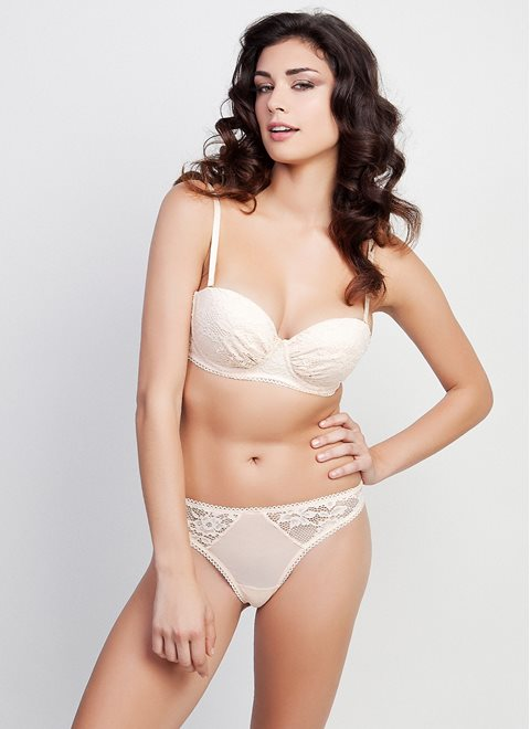 Nude Lace Bra with Removable Straps