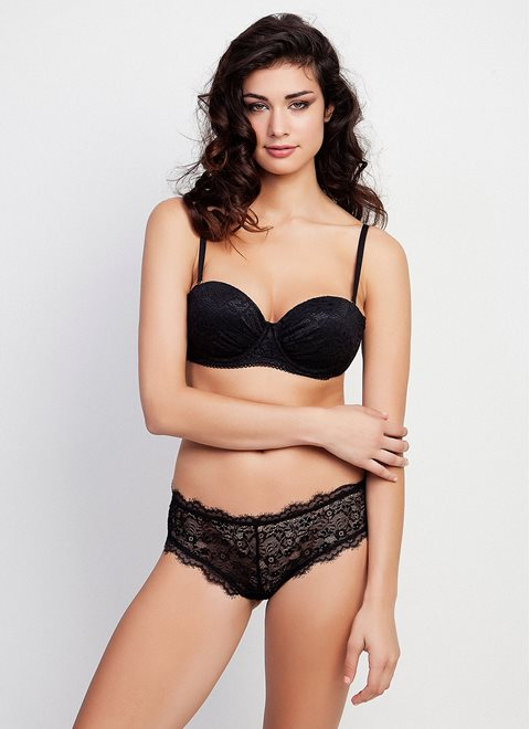 Black Lace Bra with Removable Straps