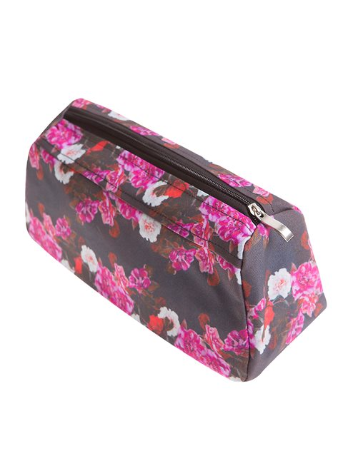 Black Floral Cosmetic Bag