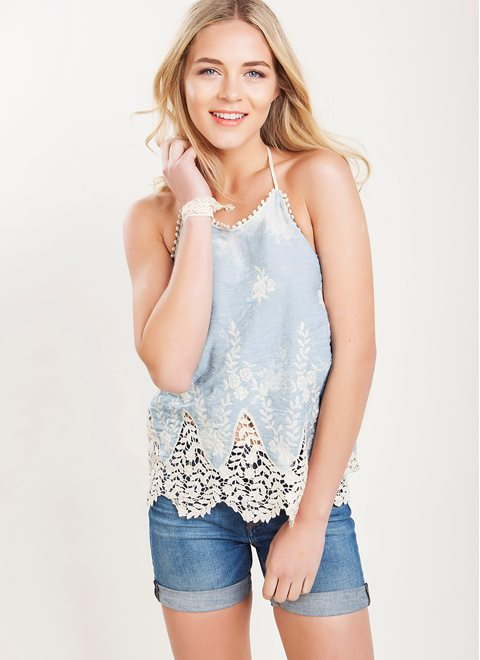 L.A. Dolls Halter Neck Lace Top