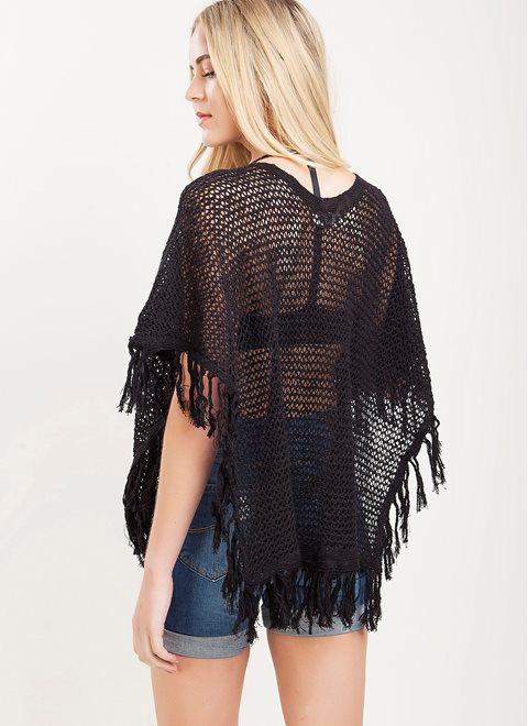 L.A. Dolls Black Crochet Poncho Top