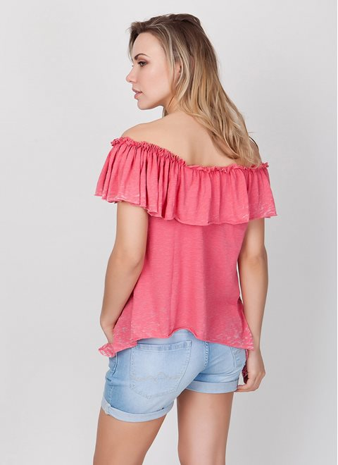 L.A. Dolls Asymmetrical Coral Top