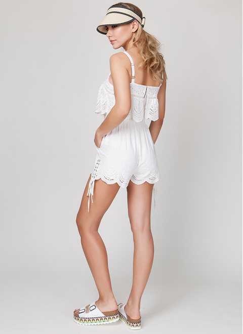 MINKPINK White Broiderie Playsuit