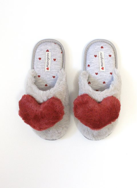 Noidinotte Red Hearts Grey Slippers