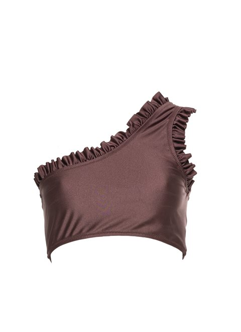 Aurora One Shoulder Frill Marron Top